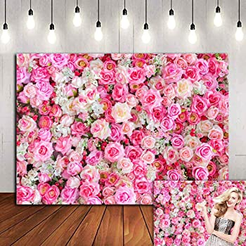 10x8ft Floral Wall Photography Backdrop Pink Flowers and Red Rose Background Studio Photo Props HXFU028