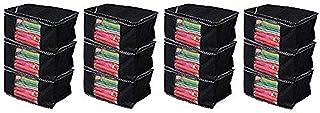 Kuber Industries™ Non Woven Saree Cover/Saree Bag/Storage Bag Set of 12 Pcs (Black) VA01