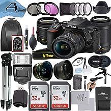 Nikon D5600 Cámara DSLR Sensor de 24,2 MP con NIKKOR 0.709-2.165in VR y lente dual de 2.756-11.811in, 2 paquetes SanDisk tarjeta de memoria de 32 GB, mochila, trípode, luz esclava y paquete de accesorios de celda A (negro)