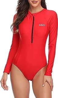 Daci Women Rash Guard Long Sleeve One Piece with Zipper Surfing Swimsuit UPF 50