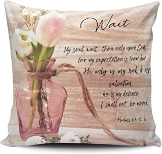 Fanaing Pink Vintage Chic Floral Psalms Wait Bible Verse Pillowcase Home Sofa Decorative 16X16 Inch Square Throw Pillow Case Decor Cushion Covers One-Side Printed