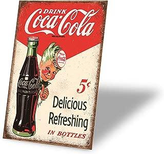 Tin Signs Drink Coca Cola Delicious Refreshing in Bottles Retro Vintage Bar Signs Vintage 12 X 8 Inch
