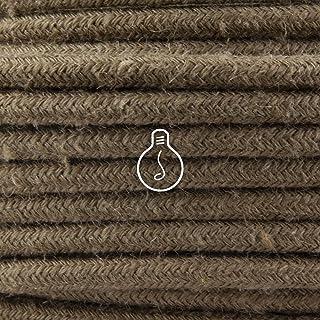 Amarcords - Câble électrique textile couleur KAKI, rond, jute, 5 mètres, avec mise à la terre 3x0,75 - Fil vintage en tiss...
