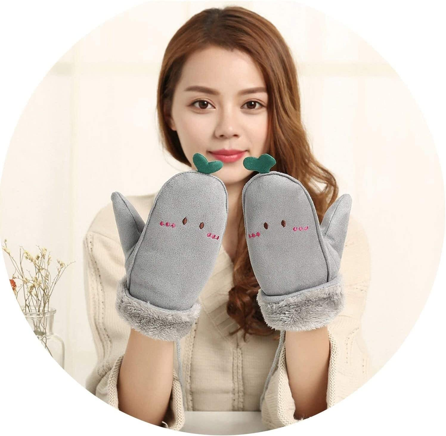 Samantha Warm Gloves Female Winter Plus Plush Thicker Warm Halter Soft Mittens Women Cute Cartoon Face Leaves Suede Leather Gloves (Color : Grey, Size : One Size)