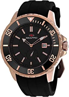 Seapro Men's Force Stainless Steel Automatic Rubber Strap, Black, 24 Casual Watch (Model: SP0515)