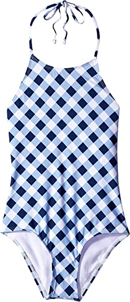 Breaking Plaid High Neck One-Piece (Big Kids)
