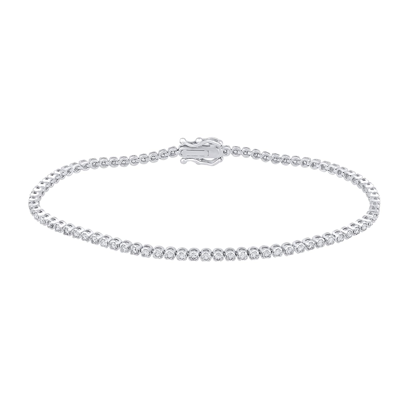 IGI Certified 1.20 Carat Natural Diamond Bracelet 18K White Gold (I-J Color, SI2-I1-Clarity) Diamond Bracelet for Women Diamond Jewelry Gifts for Women