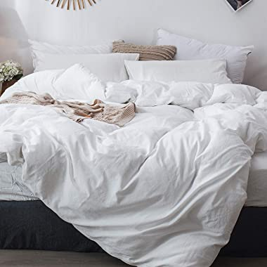 MooMee Bedding Duvet Cover Set 100% Washed Cotton Linen Like Textured Breathable Durable Soft Comfy (White, Queen)