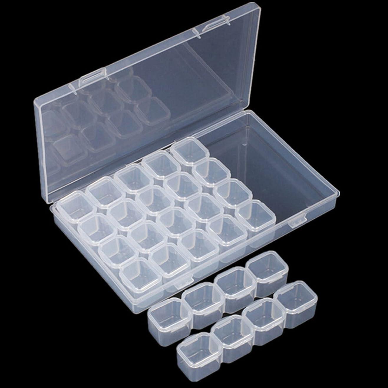 サークル微弱仮定するSODIAL ネイル28ラティスジュエリーボックス組み立てることができる解体ボックスネイル装飾ガジェット合金ダイヤモンドの装飾品のボックス