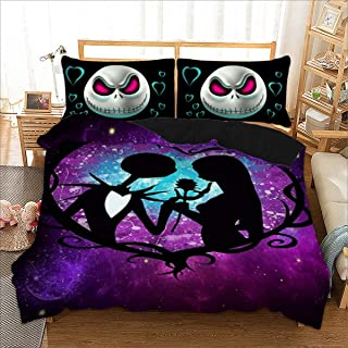 Skull Bedding Set King 3D Purple Nightmare Before Christmas Printed Duvet Cover Set Hypoallergenic Soft Microfiber Bedding Duvet Cover with 2 Pillowcases Zipper for Adults 90