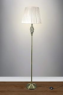Lampadaire en laiton antique 164 cm de haut abat-jour en tissu de qualité supérieure