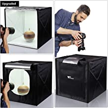 Amzdeal Light Box for Photography 20in Brightness Adjustable Photography Tent with LED Light 4 Backdrops (White Black Orange Grey)