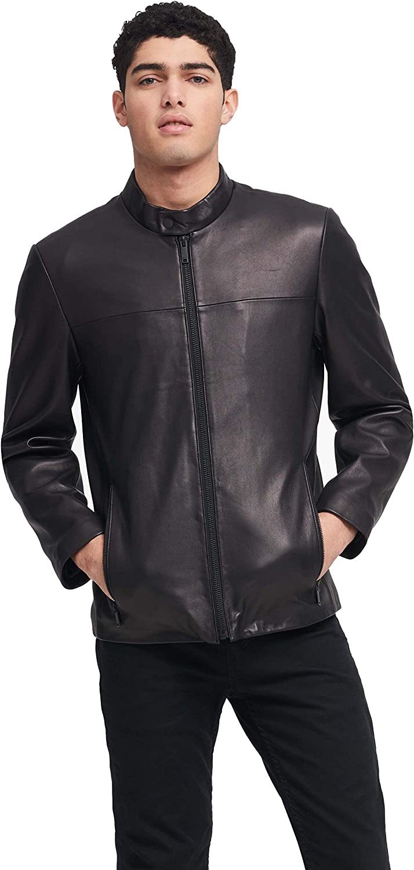 DKNY Men's Modern Lamb Leather Racer Jacket