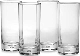 Circleware 10132 Air Bubble Heavy Base Highball Drinking Glasses, Set of 4 Dinnerware Kitchen Glassware for Water, Ice Beer, Wine, Cold Beverages and Best Bar Decor Gifts, 18 oz, Oslo