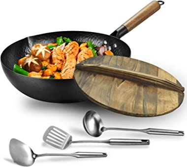 Carbon steel wok pan flat bottom pan with lid for electric, induction and gas stoves (12.5 inch wok,lid, 1 soup ladle and 2 s