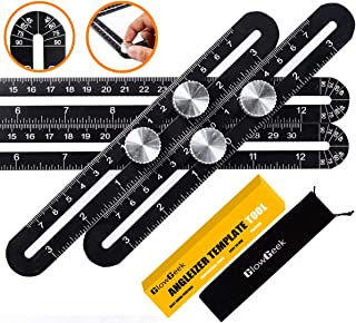 GlowGeek Multi-function Ruler-Universal Angularizer Ruler - Stainless Steel Black Unbreakable Thick Angle Ruler Template Tool, Laser Etched Markings, Carpenter Pencil, Cloth Case and Box (Black)