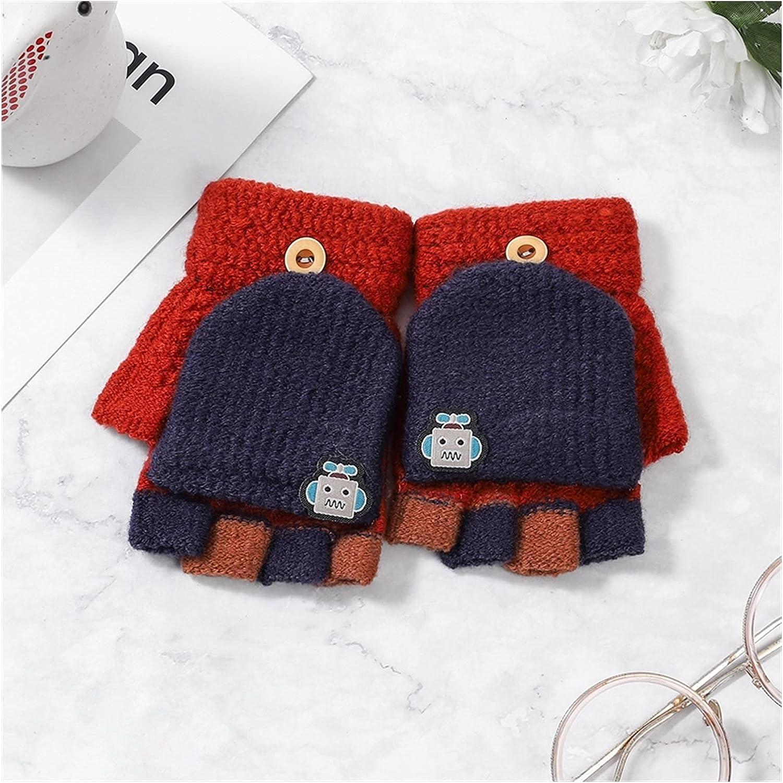 YSJJSQZ Winter Gloves 5-12 Years Winter Kids Warm Gloves Children Knitted Stretch Mittens Boy Girl Patchwork Elastic Fingerless Children Winter Gloves (Color : Navy Red)