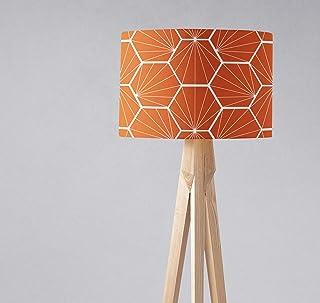 Pantalla de lámpara naranja quemado con diseño hexagonal blanco, lámpara de mesa o de techo