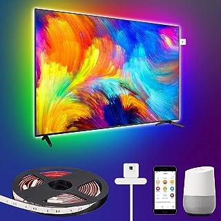 LEOEU Wifi-led-achtergrondverlichting met kleurensensor, USB, IP65 waterdicht, smart ledstrip voor 46-60 inch tv en pc, 3 ...
