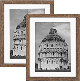 ZIRANLING Picture Frames 11X14 Wood Rustic Brown Set of 2 Pack, Made to Display Pictures 8x10 with Mat or 11x14 Without Ma...