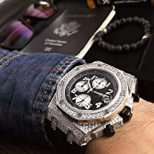 Luxury Brand Top high Japanese Quartz Chronograph Watch Watches Silver case with Stones Black dial White subdials and Rubber Strap