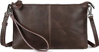 Befen Leder-Clutch, Geldbörse, kleine Umhängetasche für Damen, Crazy Horse Leder Mokka, Small