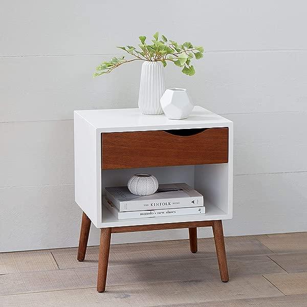 BrylaneHome Reena Retro Side Table White Natural
