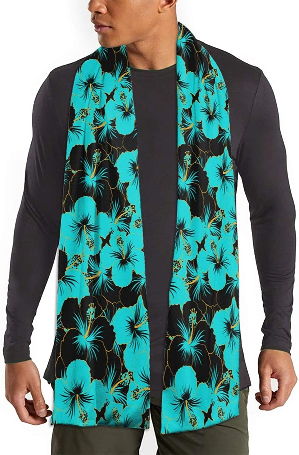 Womens Winter Scarf Tropical Flowers Blue Hibiscus Wraps Warm Pashmina Shawls Gift Reversible Soft For Girls