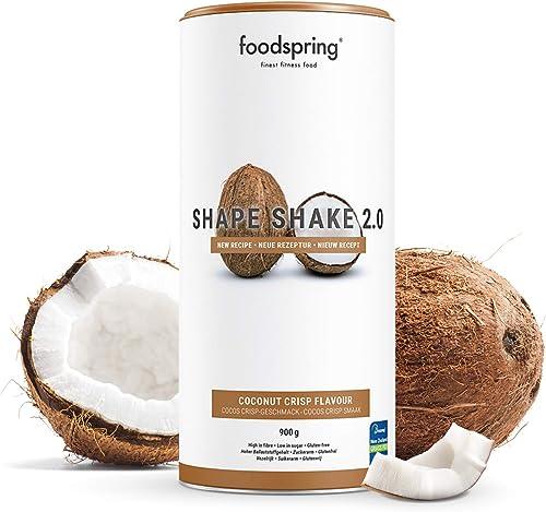 foodspring Shape Shake 2.0, Cocos Crisp, 900g, Substitut de repas riche en protéines et savoureux pour contrôle de poids