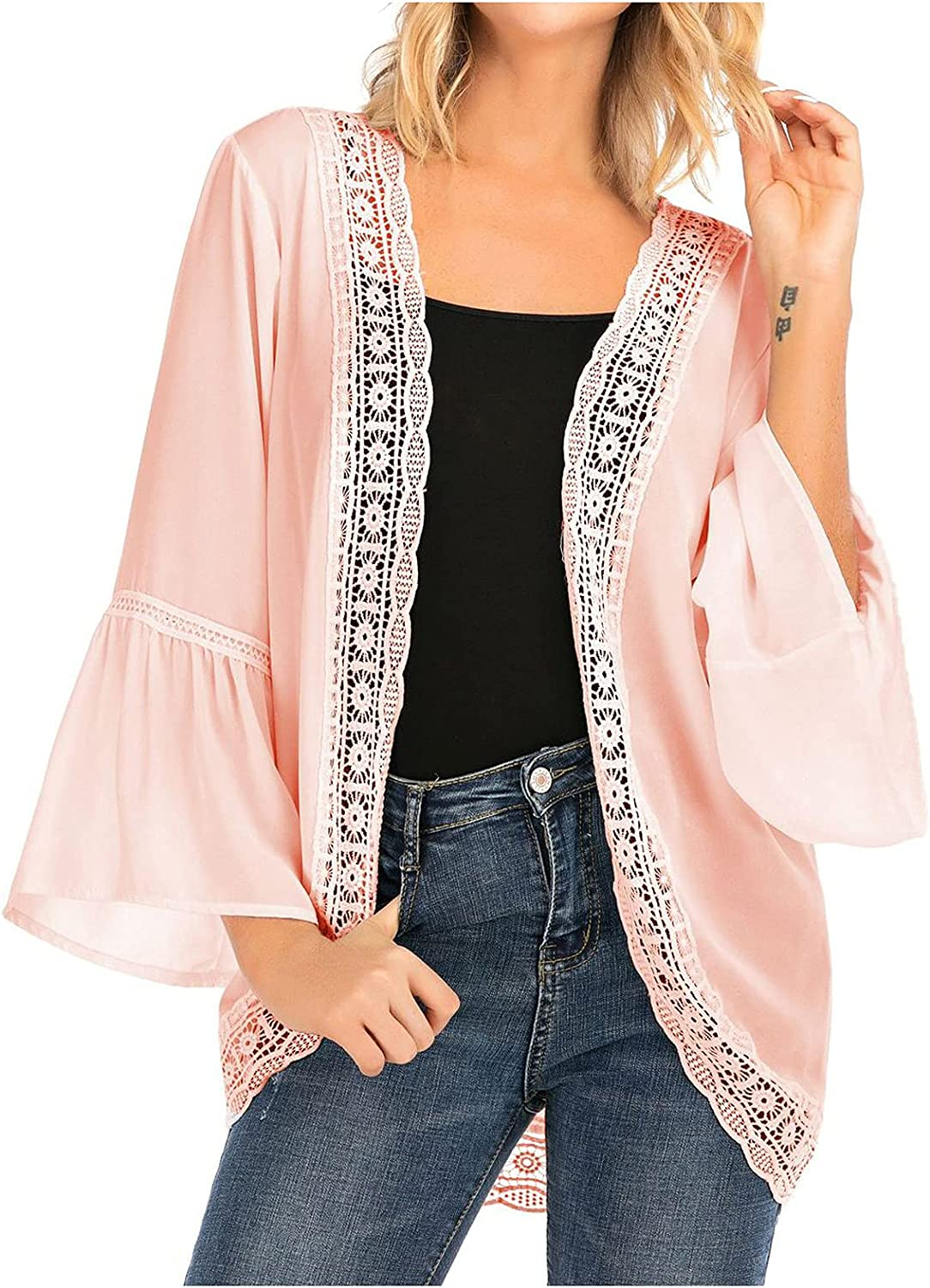 Women's Fashion Open Front Lace Solid Color Tops Tunic Casual Ruffle Sleeve Ladies Comfy Loose Jacket Coat Blouses Cardigan