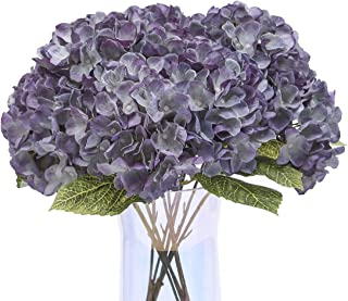 Jyi Hope Fake Flowers Vintage Artificial Hydrangea Silk Flowers Faux Hydrangea Bouquets 5Heads with Stems for Home Wedding Party Table Centerpiece Decoration (Bluish Violet)