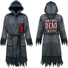 Anna King Men's Horror Hooded Robe, Luxurious Soft Fleece Bathrobe Cool Halloween Cloak Cosplay Costume Dark Grey S-3XL