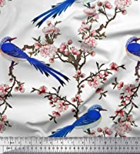 Soimoi White Poly Crepe Fabric Blossom & Paradise Whydah Bird Print Fabric by The Yard 42 Inch Wide