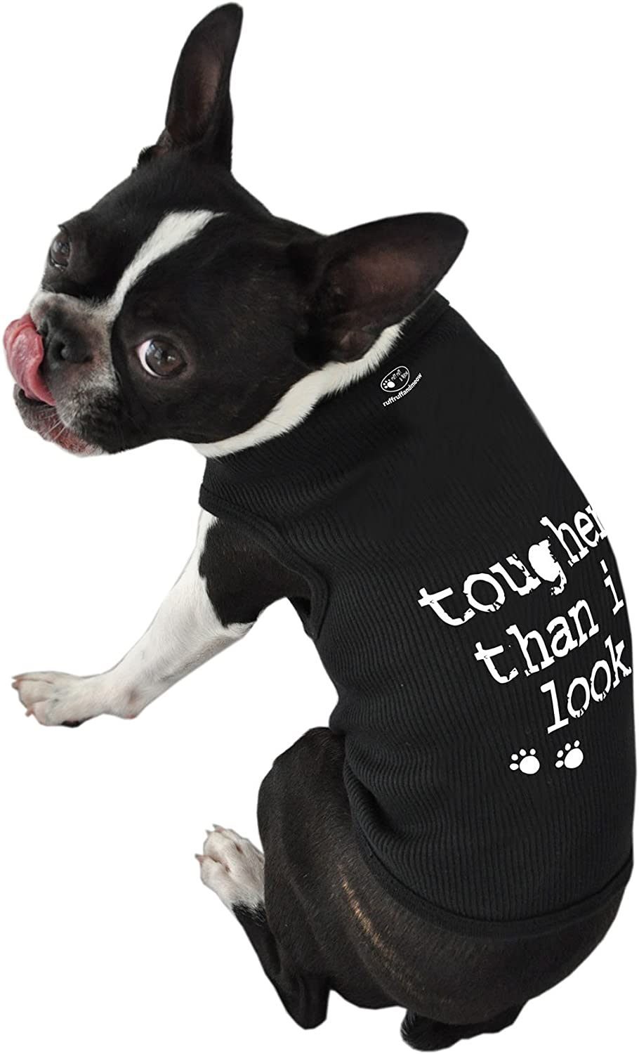 Ruff Ruff and Meow ExtraLarge Dog Tank Top, Tougher Than I Look, Black