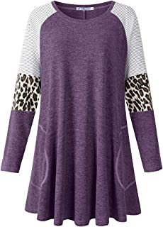 JollieLovin Plus Size Tops for Women Round Neck Long Sleeve Shirts Leopard Stripe Color Block Tunics for Fall Winter