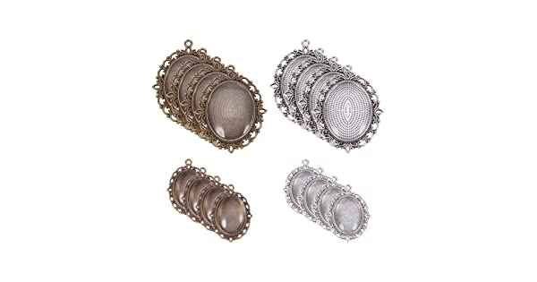 20 Pcs Total 40 Pieces 20 Pcs for Crafting DIY Jewelry Making with Glass Cabochon Dome Tiles Clear Cameo Silver and Bronze 20 Sets Pandahall Elite 2 Sizes Flat Oval Trays