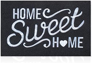 Black Welcome Mat Outdoor with Non Slip Rubber Backing Embroidery Weaving Home Sweet Home Indoor Doormat Absorb Mud High T...