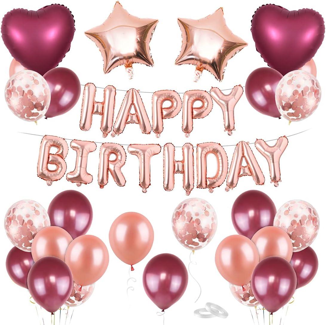 Cumpleaños Globos Mujeres, Decoración De Cumpleaños para Mujeres, Vino tinto oro rosa De Feliz Cumpleaños con Adorno para Tarta, Globos De Cumpleaños, Guirnalda de cumpleaños, Fiestas de cumpleaños.