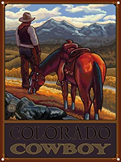 "Colorado Cowboy Cowboy On Range Metal Art Print by Paul A. Lanquist (9"" x 12"")"