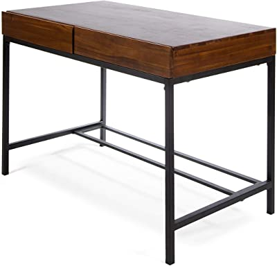 Christopher Knight Home Ebany Industrial Acacia Wood Storage Desk with Iron Accents, Dark Oak / Rustic Metal