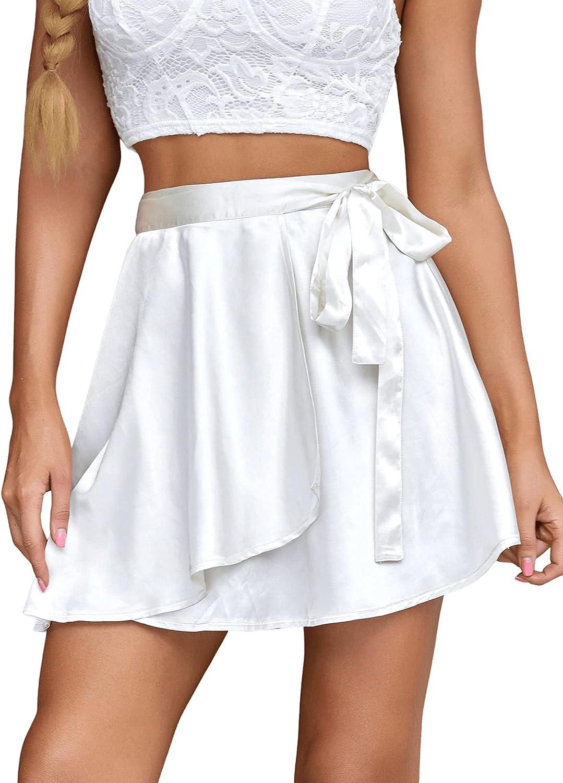SheIn Women's Satin Tie Side Wrap Flare Hem Solid Short Mini Skirt