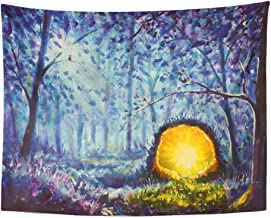 SPXUBZ Wall Tapestry Original Oil Painting Bright Yellow Portal to Another World in Mystical Blue Wall Hanging Decoration Soft Fabric Tapestry Perfect Print for House Rooms