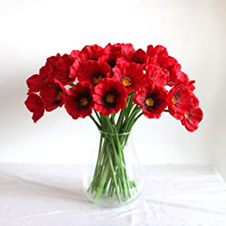Mandy's 30pcs Red Poppies Silk Artificial Flowers for Wedding Home & Kitchen PU 12.5