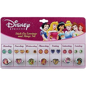 Disney Princess Sticker Earrings and Finger Rings Set Disney Pretend Jewelery
