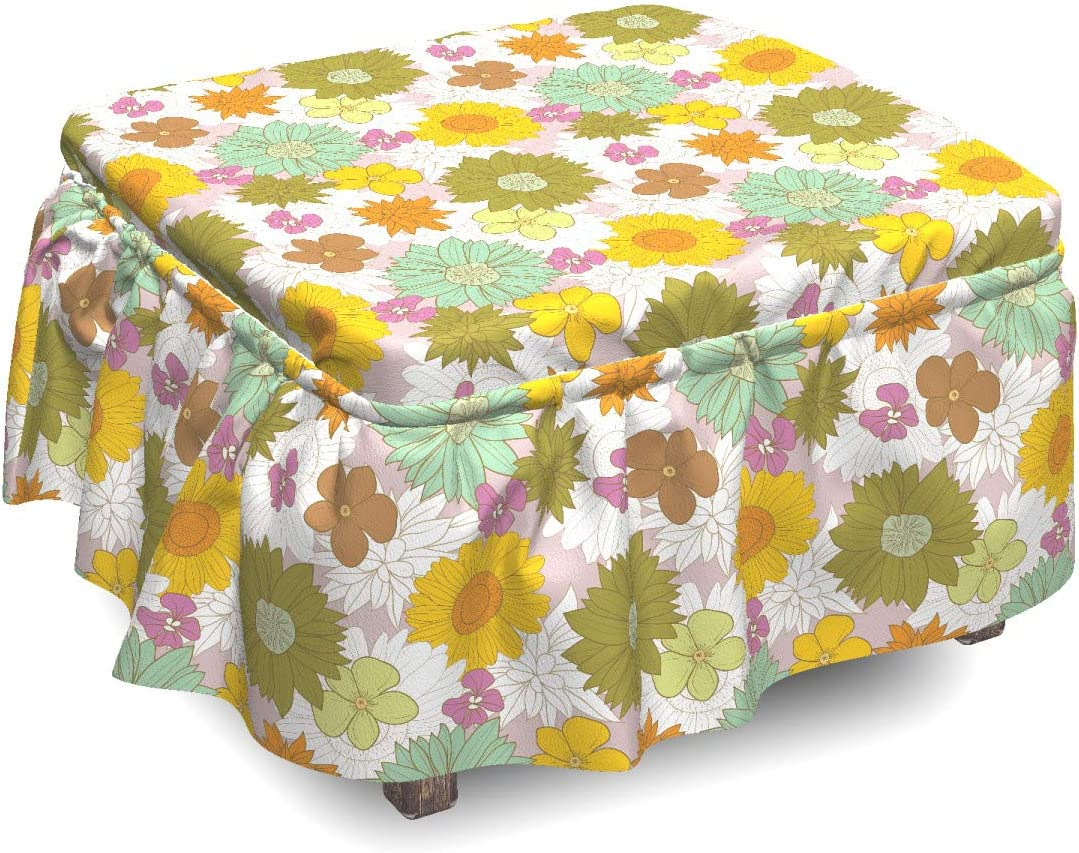 Ambesonne Flower Ottoman Max 67% OFF Cover Retro Theme 2 Piec Nature Fresh Animer and price revision