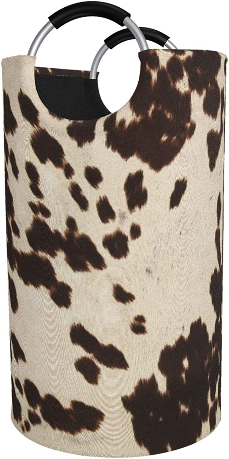KPIAJNTR Brown Cowhide Printed Sacramento Mall Foldable Waterproo Laundry Excellent Basket