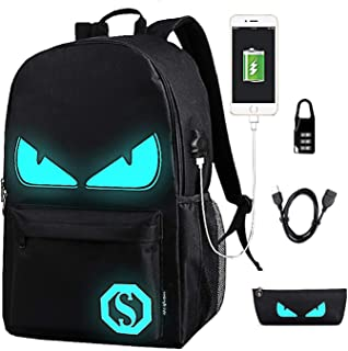 Anime Luminous Backpack Noctilucent School Bags Daypack USB chargeing port Laptop Bag Handbag For Boys Girls Men Women (Black Evil Eye)