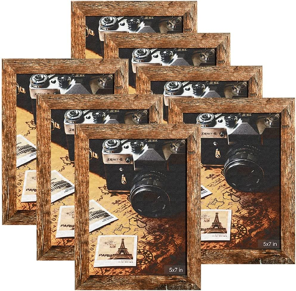 Picture Frames, HERKKA 7 Pack Rustic Picture Frames 5X7 Wood Photo Frame with High Definition Glass Fits Tabletop and Wall Mounting Display
