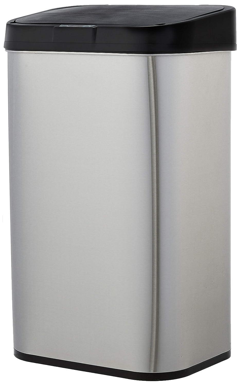 Amazon Basics - Cubo de basura automático de acero inoxidable, rectangular, 60 litros