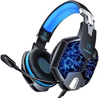 YINSAN TM5 Cuffie Gaming per PS4, Cuffie PS4 PS5 Over Ear con Microfono, RGB LED Audio Cavo 3.5mm e Controllo del Volume, Gaming Headset per Xbox One, Nintendo Switch, PC, Mac, Laptop, Smartphone Blu